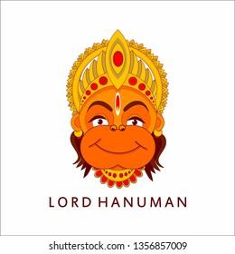 lord hanuman face vector illustration. happy hanuman jayanti