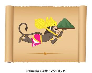 Lord Hanuman Flying with Mountain carrying Ayurvadic Sanjeevani