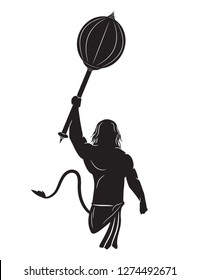 Lord hanuman with gadha weapon vector design. Hanuman tshirt design illustration.