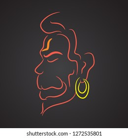 Lord hanuman line art vector illustrated design.