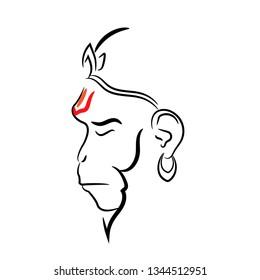 Lord Hanuman vector design beautiful art. Lord Hanuman line art.