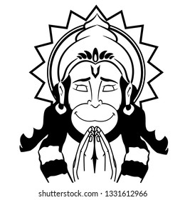 Lord hanuman vector line art pranam design.