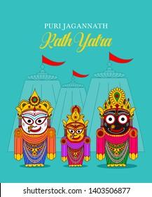 Lord Jagannath Puri Odisha God Rathyatra Festival. Jagannatha, Balbhadra and Subhadra vector. rath yatra