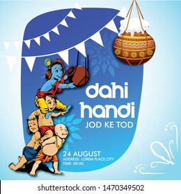 Lord Krishna with dahi handi celebration in Happy Janmashtami festival background of India