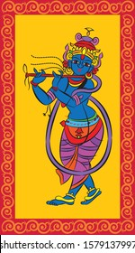 lord Krishna in different forms, for textile printing in Madhubani style