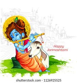 Lord Krishna in Happy Janmashtami festival of India