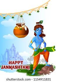 Lord Krishna Indian God Janmashtami festival holiday. Vector illustration