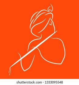 Lord krishna line art vector design.