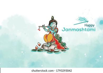 Lord Krishna playing bansuri (flute) in religious festival background of Shri Krishan Janmashtami