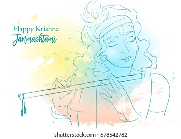 Lord Krishna plays his flute, vector Illustration. Happy Janmashtami, annual Hindu festival greetings. Line art portrait of holy person.
