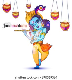 Lord Krishna Poster. Happy Jammashtami Flyer Template. Vector illustration