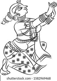lord krishna's sevika or servant cow herd girls gopika drawnin Madhubani style for textile printing