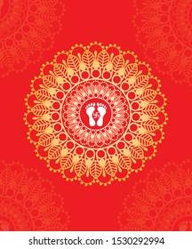 Lord Lakshmi foot print vector, lord laxmi foot graphic illustration.