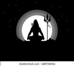 Lord mahadev silhouette illustration black artwork.