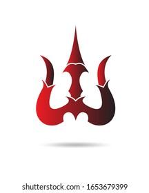Lord mahadev weapon trishul trendy design vector red gradient art.