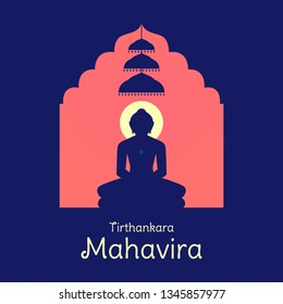 Lord Mahavira Silhouette | Vardhamana statue in temple with three Chatra  above head.\nText Tirthankara means ford-maker.\nHappy Mahavir Jayanti, Mahavir Nirvana Divas, Jain Diwali festival Celebration.
