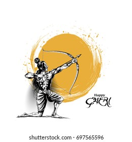 Lord Rama with arrow killing Ravana in Navratri festival of India poster with hindi text Dussehra, Hand Drawn Sketch Vector illustration.