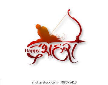Lord Rama with arrow Navratri festival of India poster with hindi text Dussehra, Hand Drawn Sketch Vector illustration.