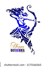 Lord Rama in flight and jump with arrow killing Ravana. Happy Dussehra - Navratri hindu festival of India.