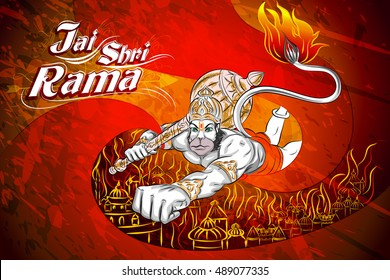 Lord Rama in Happy Dussehra Navratri celebration India holiday background. Vector illustration