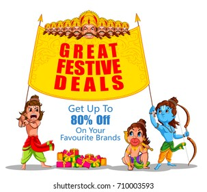 Lord Rama in Happy Dussehra Navratri celebration India holiday advertisement sale promotion offer background. Vector illustration