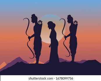 Lord Rama with his wife goddess Sita and brother Laxman. iluustration