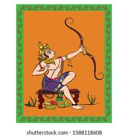 lord Rama painted in Kalamkari/Madhubani style, Indian folk art for fabric painting