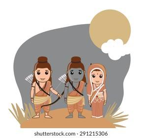 Lord Rama, Sita and Lakshman - Hindu God