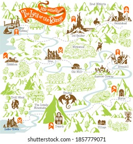 The Lord of the Rings map builder collection with simple icon elements in fantasy vector illustration 2
