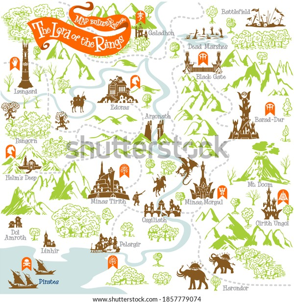 The Lord of the Rings map builder collection with simple icon elements in fantasy vector illustration 1