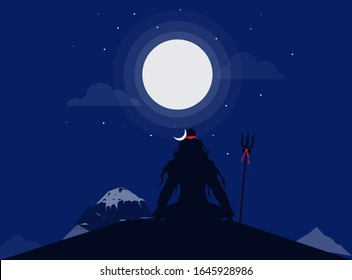 Lord Shiva chanting on mountain flat art vector illustration