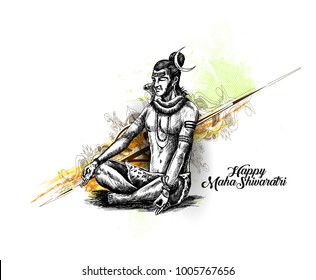 Lord Shiva - Happy Maha Shiwaratri  Poster, Hand Drawn Sketch Vector illustration.