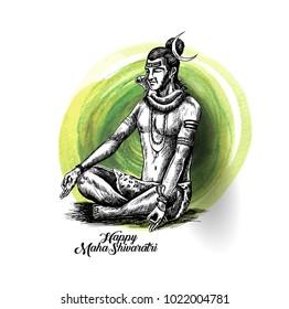 Lord Shiva - Happy Maha Shiwaratri  Poster with text of Har Har Mahadev, Hand Drawn Sketch Vector illustration.