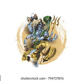 Lord Shiva - Happy Maha Shiwaratri  Poster, Hand Drawn Sketch Vector illustration.