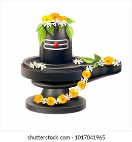 Lord Shiva Lingam decorated with bilva (bael) leaves, parijat and zendu flowers. Vector illustration.