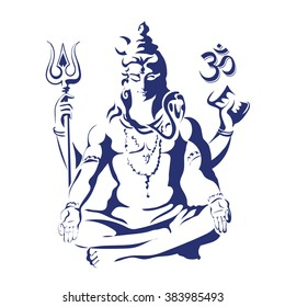 Lord Shiva in the lotus position. Maha Shivaratri. Black and white vectir illustration