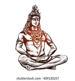 Lord Shiva in the lotus position and meditate. Om Namah Shivaya. Black and white illustration
