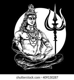 Lord Shiva in the lotus position and meditate on the background of the moon. Om Namah Shivaya. Black and white illustration