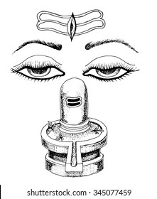 lord shiva. Mahashivratri outline poster with shiva lingam. Dharma and energy. Indian culture.