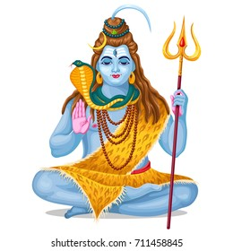 Lord Shiva in meditation. Festival  Maha Shivratri. Isolated vector illustration.