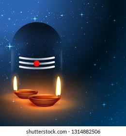 lord shiva shivling idol with worship diya