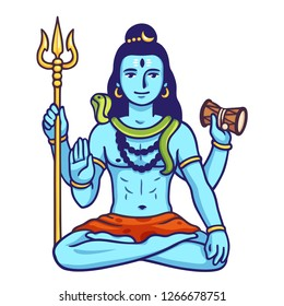 Lord Shiva sitting in lotus pose with traditional snake, trident and drum. Happy Maha Shivaratri vector illustration.
