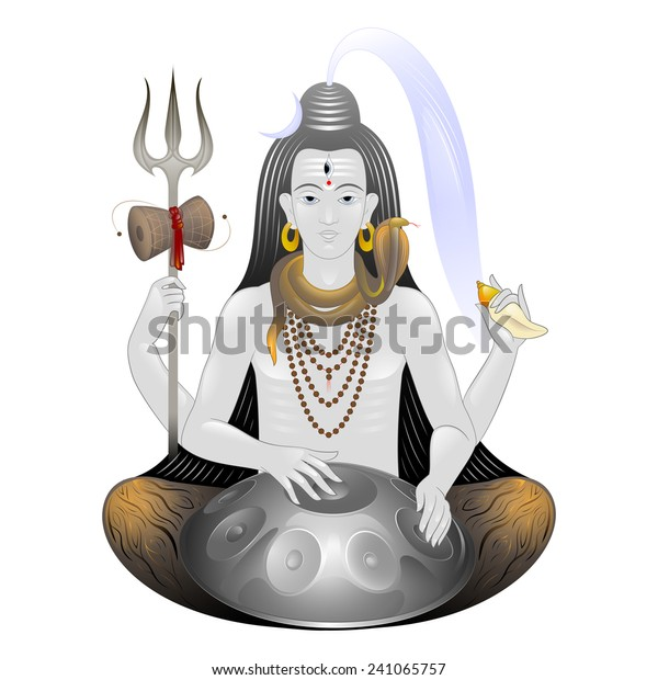 Lord Shiva Trishula Damaru Seashell Musical Stock Vector