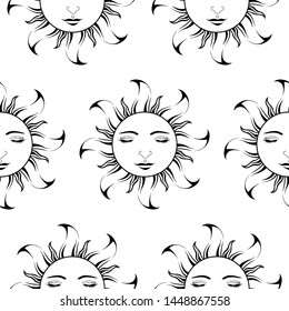 Lord Sun with closing Eyes - Scroll saw, Intarsia, T Shirt design, Wall sticker, Tattoo or Embossing art is in Seamless Pattern
