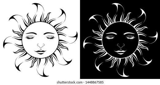 Lord Sun with closing Eyes - Scroll saw, Intarsia, T Shirt design, Wall sticker, Tattoo or Embossing art with black and white background