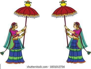 Lord's Gopika, Sevika, or lady servants in Indian mythology. who serves God. for textile printing, logo, wallpaper