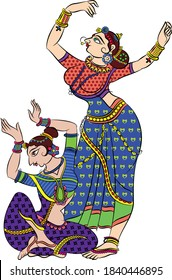 Lord's Gopika, Sevika, or lady servants have drawn in Indian folk art, Kalamkari style.for textile printing, logo, wallpaper