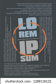 Lorem ipsum text as tee shirt design template. T-shirt graphic made from lettering and dummy texts with grunge orange circle in the middle. Fashion textile concept.