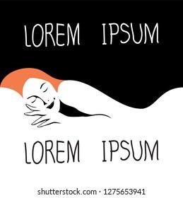Lorem ipsum. Woman sleeps well logo design.