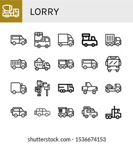 lorry icon set. Collection of Mixer truck, Van, Cargo truck, Delivery truck, Dumper, Crane Paperboy, Lorry, Jeep icons